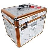 LiLa-Pferd IR Pferde Putzbox Shiny Marmor weiß - Schminkkoffer XXL - mit Name
