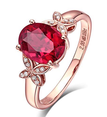 KnSam Bague Femme Fine Papillon Tourmaline Rouge Naturelle, Or 18 Carats Élégance Cadeau Noël