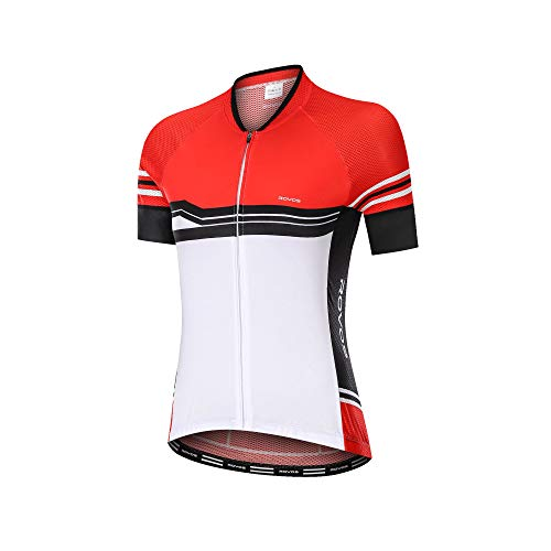 ROVOS Women Cycling Clothes Jersey Road Bicycle Short Sleeve Quick-Dry Breathable Biking Shirt Full Zipper Bike Jacket(Red,Small)