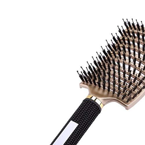 8 colores peine mujeres cabello cuero cabelludo masaje peine cerdas nylon cepillo para el cabello mojado rizado desenredar cepillo de pelo para salón de peluquería herramientas, oro