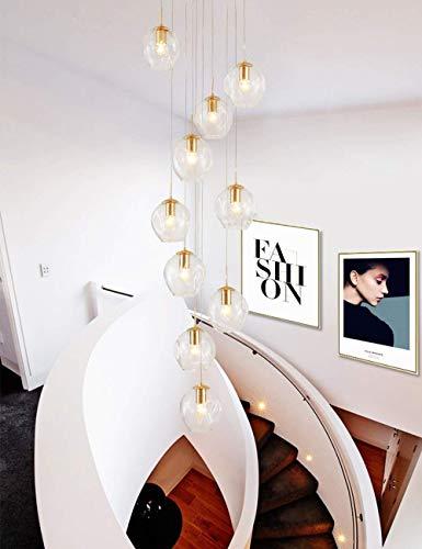 kzytamz 10 Glaskugeln Treppenhaus Kronleuchter Beleuchtung Lange Pendelleuchte Duplex Gebäude Großer Kronleuchter Wohnzimmer Villa Hohl Moderne Minimalistische Treppenlampe 40x200cm (Farbe: Klar)