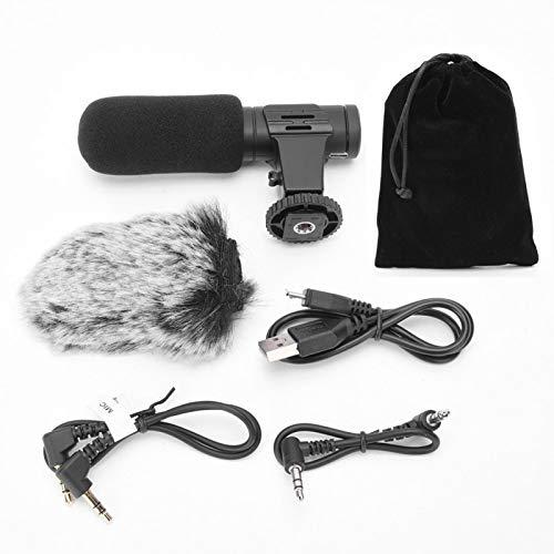 SALUTUYA Cámaras DSLR Transmisión en Vivo Vlog Mic Cámara Micrófono Material de aleación de Aluminio Voz en el Sitio en Tiempo Real con Orificio para Auriculares de 3,5 mm