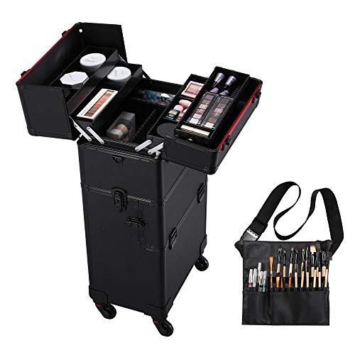 Yaheetech 3 in 1 Friseurkoffer Alu Kosmetikkoffer Beauty Case Trolley Nagel Koffer Pilotenkoffer auf Rollen mit Make-up Pinsel Tasche