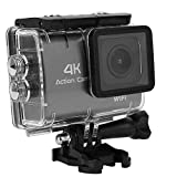 Mugast 4K HD Action Camera, 1.8inch 16MP LCD WiFi Portable Sport Camera with 170°A +Wide Angel Support Waterproof Depth 30M Suitable for Skiing/Swimming/Riding (Black)