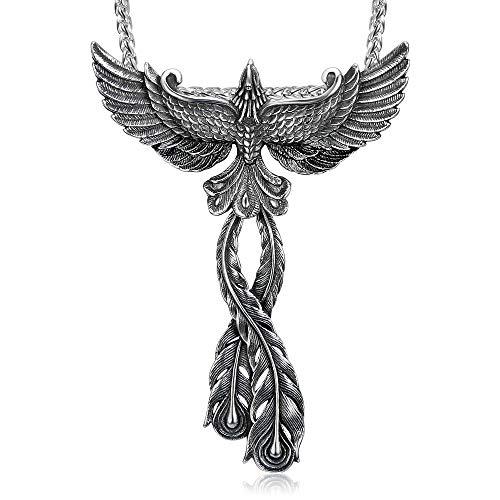 BOBIJOO JEWELRY - Gran Colgante de Collar de la Mujer el Hombre Fénix Ave de Fuego, Acero, Plata + Cadena