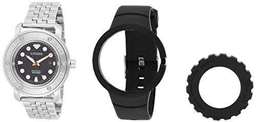 Citizen AW1530-65E Men's Eco-Diy Black Dial Interchangeable Steel Bracelet Dive Watch