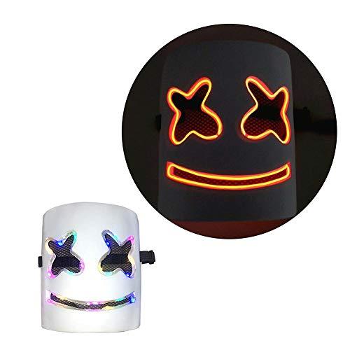 ATpart Marshmallow DJ-masker muziek DIY party rekwisieten volledig hoofdmasker Halloween kostuum party cosplay helm party bar muziek prop geel