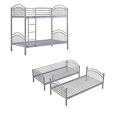 BOJU Single Bunk Bed Cot Frame 3FT Detachable Metal Day Bed Bedstead for Twin Bedroom Single Bed Frame for Kids Teens Adult Dormitory