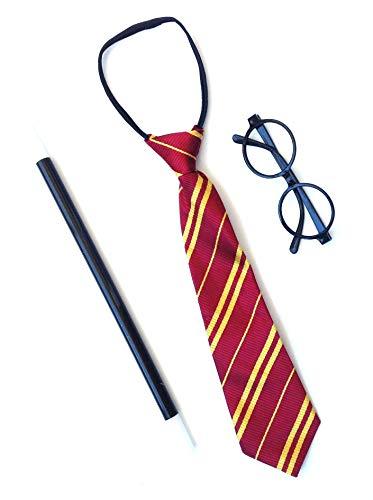Sans marque Accessoires de déguisement pour carnaval, lunettes, cravate et baguette magique