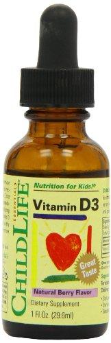Niño vida Essentials - sabor de bayas mixtas de gotas de líquido de vitamina D3 500 IU - 1 oz