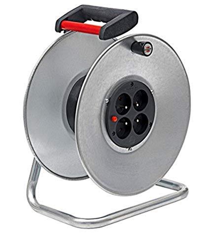 Brennenstuhl 1207301 - Enrollador de cable (vacío), color plateado