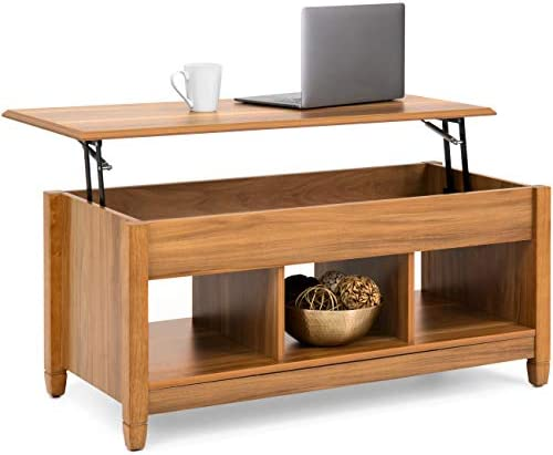 Best Best Choice Products Modern Home Coffee Table Furniture w/Hidden Storage and Lift Tabletop - Brown