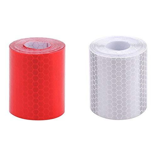 Reflektierendes Band,Reflektorband Wasserdichtes Warnband fur Fahrzeuge Autos Anhanger Fahrrader Helme 2 Pack 50mm × 3 m Rot Weiß