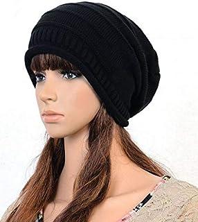 قبعة للشتاء مغزولة من الصوف قابلة للطي الرجال والنساء طراز HT-0008 بلون اسود