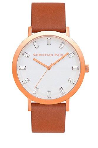 Christian Paul sw-06Hombres de Acero Inoxidable Banda Esfera Blanca de Piel Color marrón Reloj
