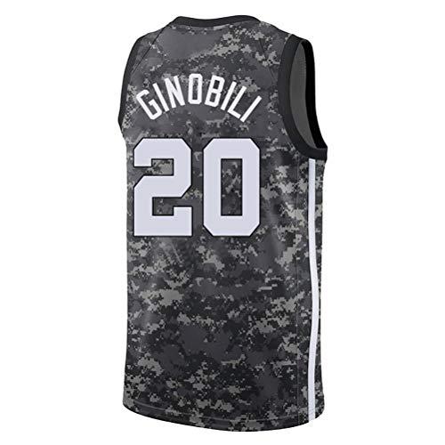 Rencai Manu Ginóbili # 20 Herren-Basketball Jersey, San Antonio Spurs Sport Retro Swingman Ärmellos Hemd (Color : 1, Size : L)