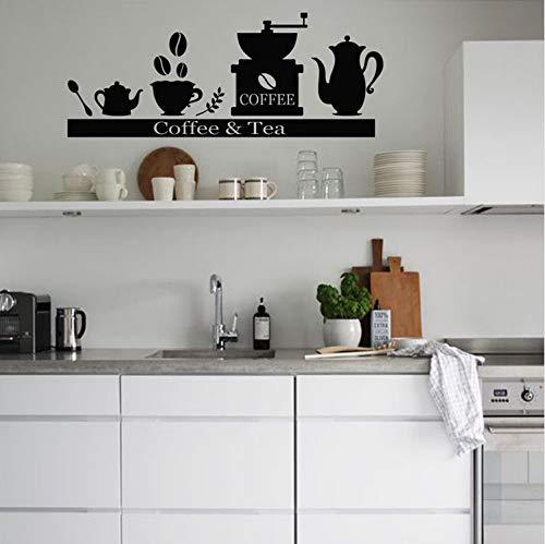 L Wandaufkleber Abziehbilder Kaffeemaschine Kaffeemaschine Teetassenhalter Regal Küche Wohnzimmer Dekoration Kunst Poster 57x25cm