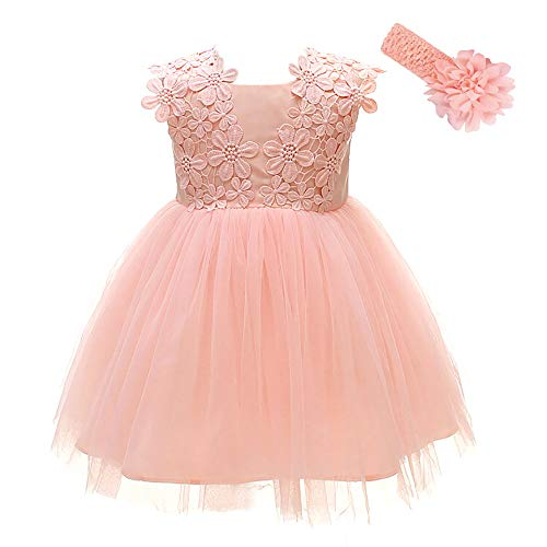 Xangirl Baby Girl Formal Dress, Infant Pink Flower Princess Dresses Birthday Wedding Party Christening Special Occasions Outfit for 6-12 Months Baby Girls