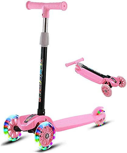 EIIDJFF Scooter Patinete Scooter Plegable de 3 Ruedas de Altura Ajustable para niños, niñas de 2 a 12 años, patinetes Plegables de Tres Ruedas para niños 612(Color:a)