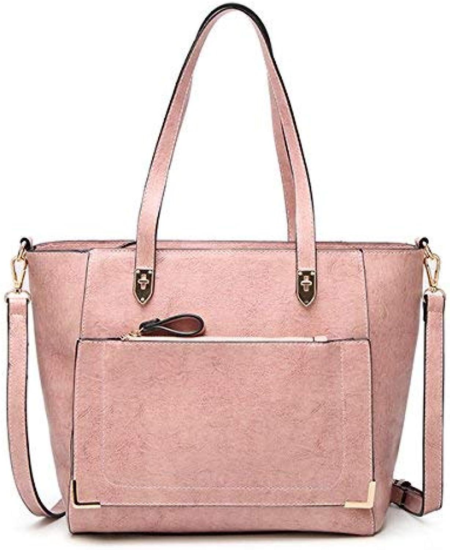 Ladies Handbag Pu Handbag Shoulder Bag Tote Cross Body Bag Ladies Big Business Front Messenger Bag (color   Pink, Size   30  12  27Cm)