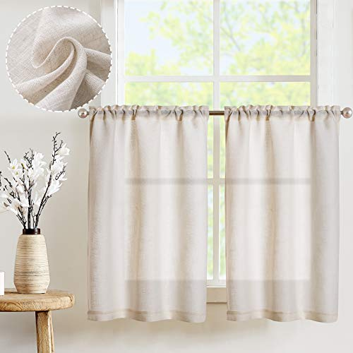 JINCHAN Kitchen Curtains 36 in Length Linen Look Short Curtains for Bathroom Small Window Rod Pocket Flax Rustic Window Treatments 2 Panels Crude