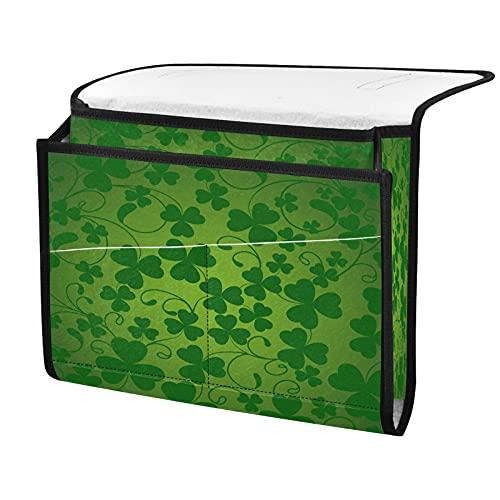 Organizador de almacenamiento para mesilla de noche, trébol de la suerte, junto a la caja, organizador de almacenamiento para mandos a distancia gafas de teléfono