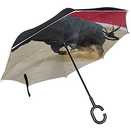 Alice Eva Inverted Umbrella Umbrella Reverse Folding Große romantische Stierkampfstadt Spanisch Regenschirm Folding Double Layer Reverse Umbrella