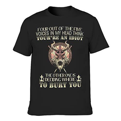 Four Out of The Five Voices In My Head Think Viking 3D Druckten Männer T-ShirtsKurzarmTee Classics Herren T-Shirt Kurzarm T-Stücke Black 2XL