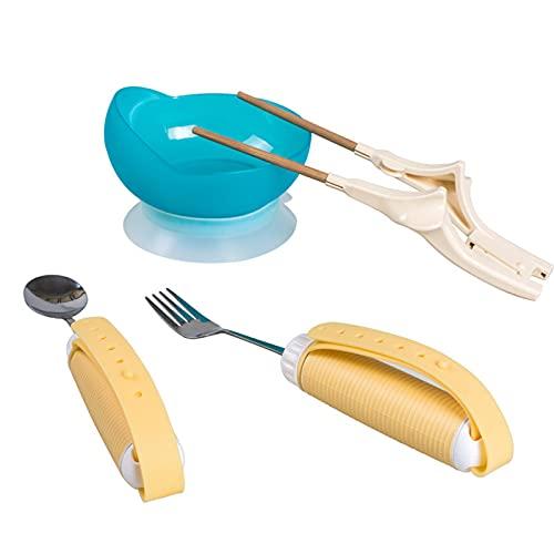Juego de Cubiertos Vajilla Extra Estable Tenedor Cuchara Palillos y Cuenco Gel de SíLice Fijado con Ventosa y MuñEquera para Pacientes Mayores,