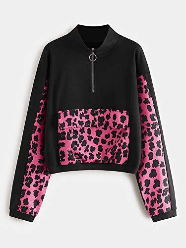 JIAMIN Tops Chic Leopard Print Sudadera de manga larga con capucha y cremallera (color: negro, talla: M)