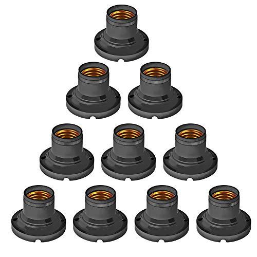 Demiawaking 10 Stück Lampenfassungen E27 Universal E27 Fassung Lampenfassung Flach Adapter Lampenfassung Energiesparend