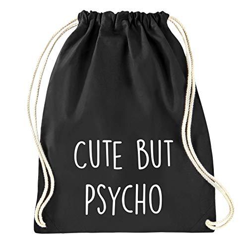 Onvergetelijke meiden - ''Cute but psycho' - Gymtas - Gymtas - Rugzak - Jute Bag - Sporttas - Zwart