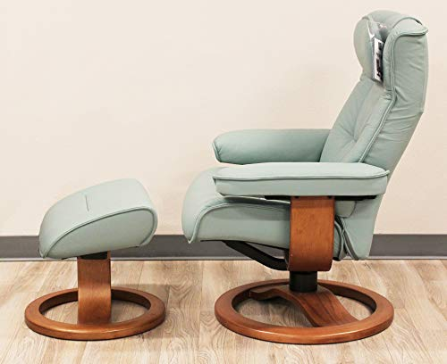 Fjords Regent Large Leather Recliner Chair and Ottoman Norwegian Ergonomic Furniture Soft Line Genuine Seagreen Leather Walnut Wood