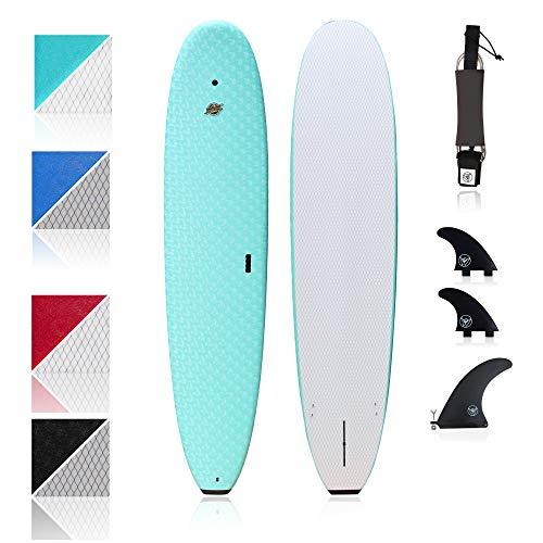 South Bay Board Co. - Premium Surfboard for Beginners –Wax-Free Soft-Top Foam Surfboard –8'8 Heritage - Aqua - Fins & Leash Included –Custom Beginner Shape for Easier, Better Surfing for Adults & Kids