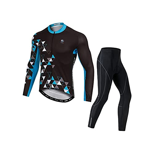 Jersey de ciclismo para hombre Hombres ciclismo Jersey Set de manga larga Transpirable camisa de bicicleta y pantalón acolchado Juego de pantalones al aire libre Trajes deportivos Maillot de ciclismo