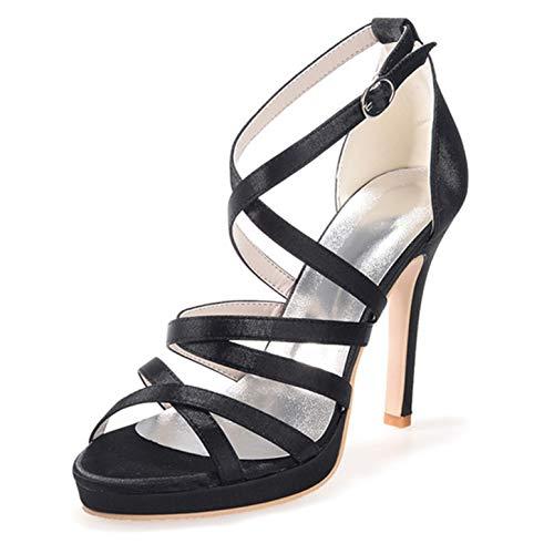 LGYKUMEG Damen Knöchelband Satin Heels Womens Strappy High Heel Sandalen Damen Party Prom Braut Brautjungfer Stiletto Schuhe,04,EU41