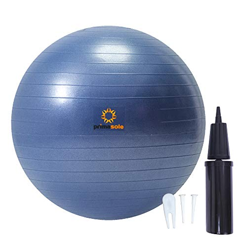 PRIMASOLE Exercise Ball (25.6 inch) for Balance, Stability, Fitness, Workout,Yoga, Pilate at Home & Gym with Inflator Pump. Balance Ball for Women & Menl(Indigo Blue) PSS91NH015A