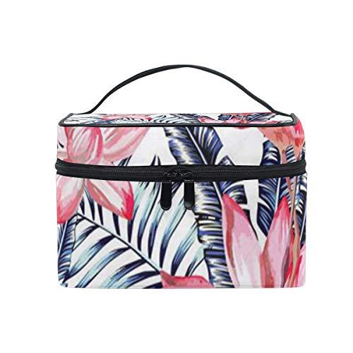Sac de maquillage rose aquarelle flamant rose et feuilles de palmier bleu sac cosmétique portable grand trousse de toilette pour femmes/filles voyage