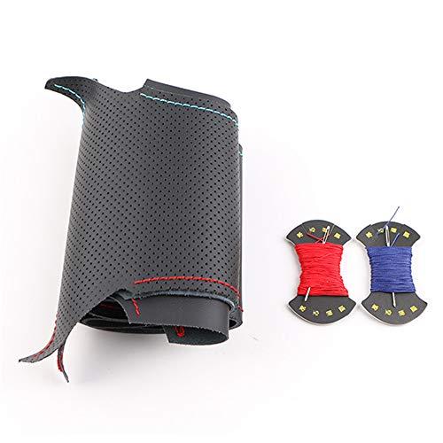 LUYISH Cubierta Del Volante Trenza de volante de coche de cuero artificial para i30 2012-2016 / hilo de dirección, rojo y azul a medida