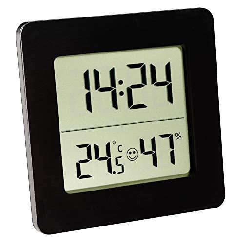 TFA Dostmann Digitales Thermo-Hygrometer, 30.5038.01, zur Raumklimakontrolle, Innentemperatur und Luftfeuchtigkeit, schwarz