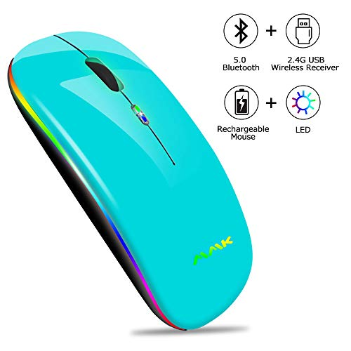 Bluetooth Mouse Two-Mode Slim Rechargeable Wireless Mouse(Bluetooth 5.0+2.4G Receiver),1600DPI Portable Mouse for MacBook,Laptops Windows 8,Windows10,Mac OS X 10.10,iPad OS 13 or Later