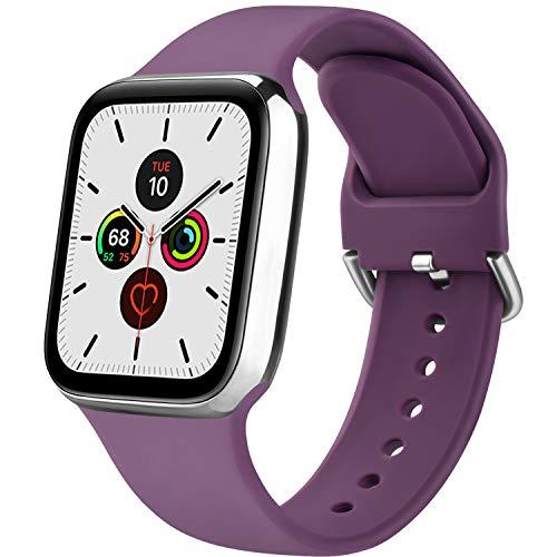 Senka Silicona Correa Compatible con Apple Watch 38mm 42mm 40mm 44mm, Pulseras de Repuesto Silicona Suave Deportiva para iWatch Series 6 5 4 3 2 1,Hombre y Mujer(Morado Oscuro,38mm/40mm M/L)