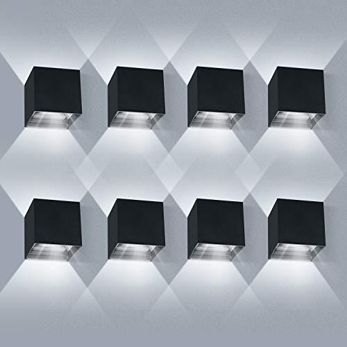 LEDMO 8 Pack Applique da Parete Interno/Esterno LED 12W Applique Esterno Angolo del Fascio Regolabile su e Giù 6000K Bianco Freddo Lampada da Parete IP65 Impermeabile Nero