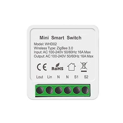 CUTEH Tuya Zigbee Smart Micro Switch, dispositivo mini interruptor, control remoto, conveniente e inteligente, utilizado con Zigbee, adecuado para electrodomésticos