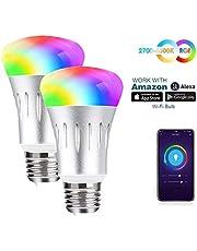 مصباح إضاءة LED بالواي فاي الذكي 16 مليون لون متغير E27 60 واط متعدد الألوان لا يوجد محور مطلوب، العمل مع الهاتف الذكي أليكسا جوجل هوم (7 واط عبوة)