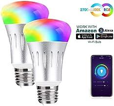 مصباح اضاءة واي فاي ذكي E27 ار جي بي دبليو يغير لونه، قوة تعادل 60 واط، لا يتطلب موزعًا، يعمل مع تطبيق الهاتف الذكي اليكسا...
