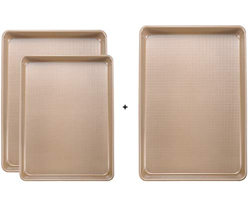 Joho Baking Cookie Sheet Baking Pan Set, Professional Baking Sheet for oven Nonstick, Large Baking Trays, 3 Piece9x13in,10x15in,13x18in Gold