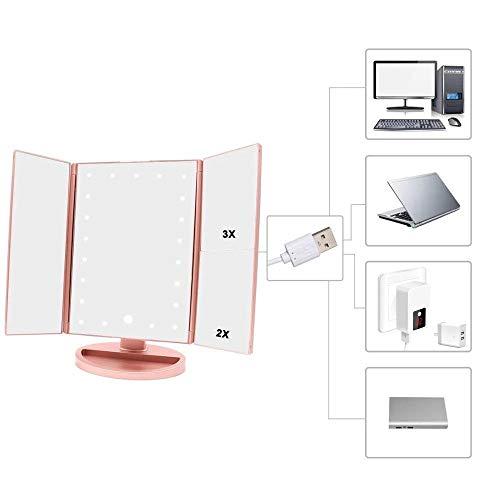 Dreifach Gefalteter LED-beleuchteter Kosmetikspiegel 1X / 2X / 3X10x Vergrößerungsspiegel Touch Control Beleuchteter Kosmetikspiegel Rasierspiegel Kosmetikspiegel,Pink