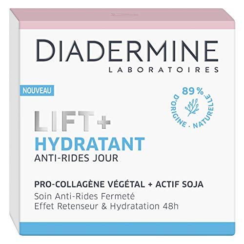 Diadermine - Lift+ Hydratant - Crème Jour Visage Anti-Rides Ultra Fermeté - Soin Fermeté - Pro-Collagène végétal et actif soja - 89% d'ingrédients d'origine naturelle - Pot de 50 ml