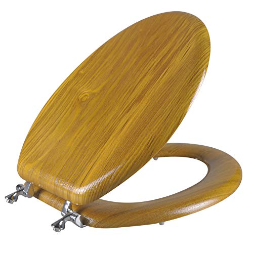Angel Shield Durable Wood Veneer Natural Toilet Seat Metal Hinged Easy Clean Anti-scratch American Standard(Elongated,Oak)